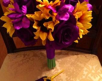 Sunflower Purple Wedding Bouquet with Matching Boutonniere, Sunflower Wedding Bouquet, Rustic Wedding, Purple Bridal Bouquet, Purple Bride