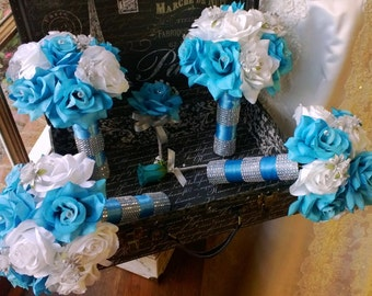 Malibu Blue White Silver Wedding Flower 17 Piece Set, Bridal Bouquet, Malibu Blue Bouquet, Turquoise White Bouquet, Blue Wedding Bouquet