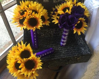 Sunflower Purple Rose Wedding Flowers, Sunflower Bridal Bouquet Rustic Sunflower Bouquet, Yellow Purple Flowers, Rustic Wedding Bouquet