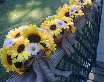 17 piece Sunflower Bouquet Fall Wedding Flower Set, Bridal Bouquet, Sunflower Wedding Bouquet, Sunflower Boutonniere, Daisy Rustic Bouquet