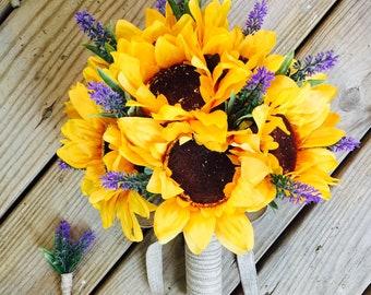 Sunflower & Lavender Wedding Bouquet Set, Sunflower Bridal Bouquet, Sunflower Bouquet, Rustic wedding, Lavender Bouquets