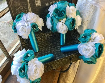 17 Piece Malibu Blue White Rose Wedding flower set, Bridal Bouquet Wedding Bouquet Set, Malibu Blue Bouquet, Turquoise White Bouquet