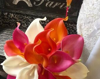 Real Touch Orange Pink Wedding Bouquet 2 Piece Set, Orange Hot Pink Bouquet, Calla Lily Bouquet, Beach Wedding, Beach Bouquet, Fake flowers