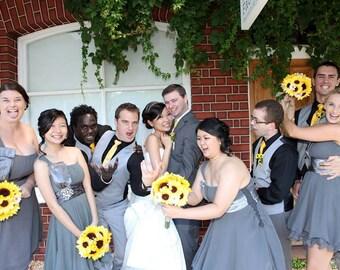 17 piece Yellow Sunflower Bridal Bouquet Wedding Set, Sunflower Burlap Bouquet, Daisy Bouquet, Yellow Bouquet Rustic Sunflower Wedding