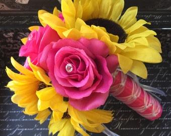 Sunflower Bouquet, Sunflower Pink Rose Bridal Bouquet, Sunflower Wedding, Yellow Pink Bouquet, Sunflower Hot Pink Bouquet, Rustic