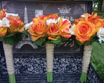 Orange Rose Bouquet 6 piece Fall Wedding Set, Orange Bouquet, Burlap Bouquet, Orange Ivory Bouquet, Real Touch Bouquet, Fall Wedding