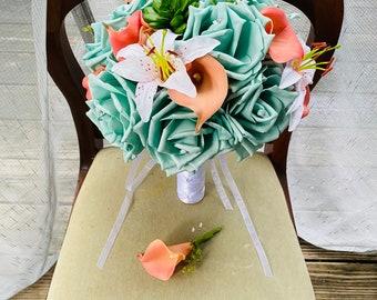 Real Touch Aqua, Coral & White Lily Beach Wedding Flower Bouquet, Aqua Wedding Bouquet, Spa Blue Bouquet, Beach Bouquet, Shell Bouquet