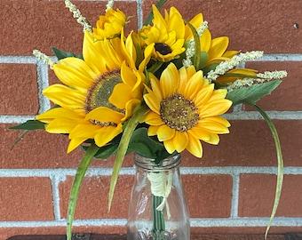 New Artificial Sunflower Wedding Bouquet, Sunflower Wedding Flowers, Sunflower Bridal Bouquet, Rustic Wedding,