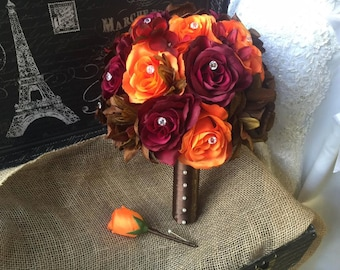 Fall Wedding Bouquet with Boutonniere, Fall Bouquet Set, Brown Bouquet, Burgundy Bouquet, Orange Brown Bouquet, Orange Rose Bridal bouquet