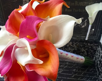 Real Touch Orange Hot Pink White Calla Lily Wedding Bouquet 2 Piece Set, Orange Hot Pink Bouquet, Calla Lily Bouquet Beach Wedding