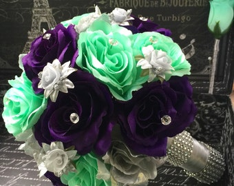 Wedding Bouquet, Silver Purple Mint Rose Bridal Bouquet 2 piece Flower Set, Mint Wedding, Silver Bouquet, Mint Bouquet, Purple Bouquet