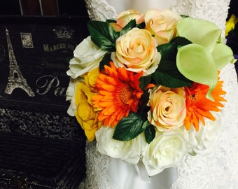 Fall Wedding Bouquet, Orange Ivory Bouquet, Fall Rose Bouquet, Orange Daisy Bouquet, Fall Orange Bouquet, Yellow Orange Bridal Bouquet Fall