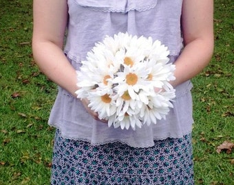 Shasta Daisy Bouquet, White Daisy Bouquet, Burlap Daisy Bouquet, Rustic Bouquet, Daisy Wedding Bouquet, Shabby Chic Bouquet Artificial Daisy