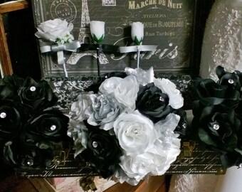 17 Piece Silver Black White Rose Wedding Flower Set, Bridal Bouquet Silver Black Wedding, Rose Silver Black Bouquet, White Black Bouquet