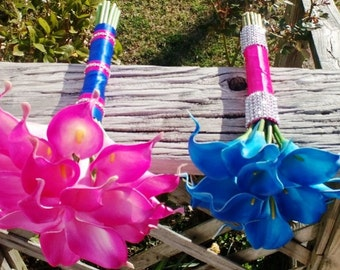 4 Piece Hot Pink & Royal Blue Real Touch Calla Lily Wedding Bouquet Set, Blue Hot Pink Bouquet, Royal Blue Bouquet, Calla Lily Bouquet