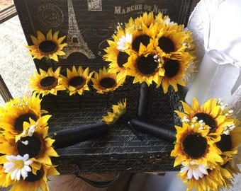 Sunflower Bouquet 15 piece Wedding Flower Set, Sunflower Bridal Bouquet, Sunflower Daisy Bouquet Lace Bouquet Sunflower Wedding Bouquet