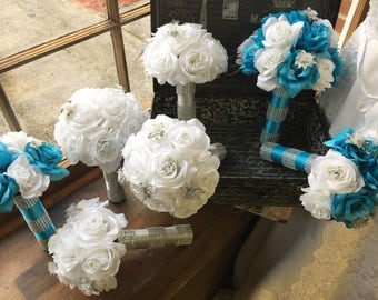 17 Piece Malibu Blue White Silver Wedding Flower Set, Bridal Bouquet, Malibu Blue Bouquet, Turquoise White Bouquet, Silver Wedding Bouquet