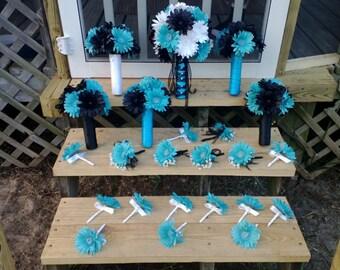 Daisy Bouquet Black White Turquoise Malibu Blue 15 Piece Wedding Bouquet Set, Turquoise Bridal Bouquet, Malibu Blue Bouquet Gerbera Daisy