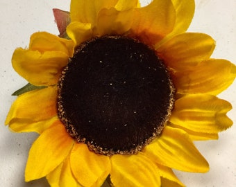 1 Large Artificial Sunflower, Yellow Fake Flowers, Cake Flowers, Sunflower Wedding Decor, Sunflower DIY, Fall Flowers, Wreath Flowers