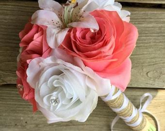 Coral White Rustic Beach Wedding Bouquet wrapped in Natural Burlap, Coral White Bouquet, Coral bouquet, Beach Bouquet, Coral Bridal