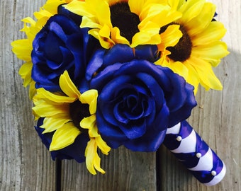 Royal Blue Sunflower Bouquet with Boutonniere, Sunflower Bouquet,  Bridesmaid Bouquet, Sunflower Bridesmaid Bouquet, Rustic Bouquet