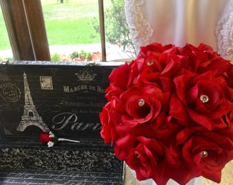 Red Rose Wedding Bouquet with Boutonniere, Red Bride Bouquet, Red Rose Bridal Bouquet, Red Bridal Bouquet, Red Flower Bouquet Red Bridesmaid