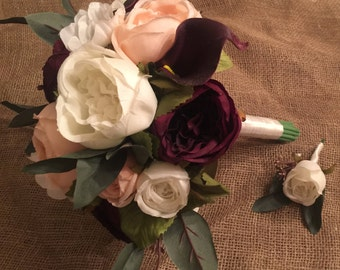 Burgundy, Pink, Ivory Rose Wedding Bouquet Set, Burgundy Bouquet, Pink Bridal Bouquet, Wine Bouquet, Vintage Wedding Bouquet, Fall Bouquet