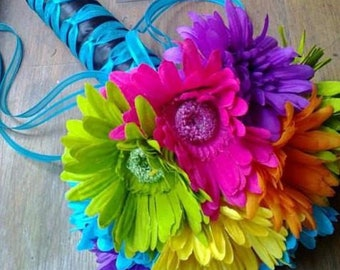 Colorful Daisy Wedding Bouquet, Crazy Daisy Bouquet, Rainbow Daisy Bouquet, Orange Daisy Bouquet, Pink Daisy Bouquet, Blue Daisy Bouquet