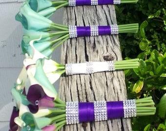 17 piece Real Touch White Purple Aqua Blue Calla Lily Wedding Bouquet Flower Set, Purple Blue Bouquet, Calla Lily Bouquet Real Touch Flowers