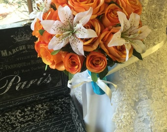Orange Rose Wedding Bouquet, Orange Ivory Lily Bouquet, Orange Ivory Bouquet, Orange Real Touch Bouquet, Fall Wedding Bridal Bouquet