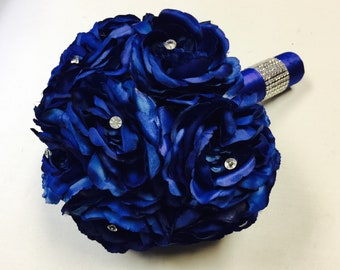 Royal Blue Rose Bouquet with Diamond Accents, Royal Blue Bouquet, Royal Blue Wedding Flowers, Royal Blue Wedding bouquet, Bridal Bouquet