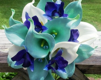 Real Touch Aqua Blue & White Calla Lily Royal Blue Orchid Wedding Bouquet with Boutonniere, Aqua Blue Bouquet Calla Lily Bouquet Orchid