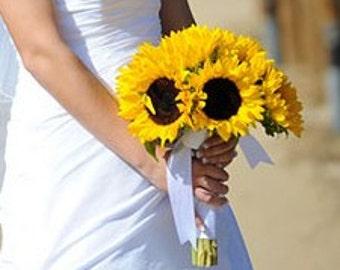 Real Touch Sunflower Wedding Bouquet, Sunflower Bouquet, Rustic Wedding, Yellow Sunflower Bouquet, Sunflower Bridal Bouquet Fall Bouquet