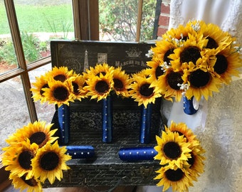 Sunflower Bouquet 16 piece Wedding Flower Set, Sunflower Bridal Bouquet, Rustic Bouquet Fall Bouquet Sunflower Wedding Bouquet
