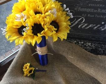 Sunflower Bouquet with Twine, Sunflower Wedding Bouquet, Rustic Wedding, Yellow Sunflower Bouquet, Sunflower Bridal Bouquet Fall Bouquet