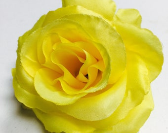 1 Yellow Artificial Rose, Yellow Fake Flowers, Yellow Rose Cake Topper, Yellow Wedding Decor, Yellow DIY Flowers, Yellow Roses