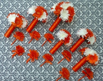 Orange White Daisy Bouquet, Daisy Bouquet, 15 Piece Set, Orange Daisy Bouquet, White Orange Bouquet, Fall Bouquet, Orange White Wedding
