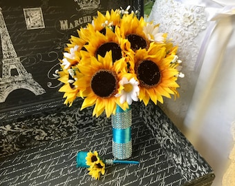 Sunflower Bouquet, Rustic Wedding Bouquet Flower Set, Rustic Bridal Bouquet Sunflower Daisy Bouquet Burlap Sunflower Wedding Bouquet