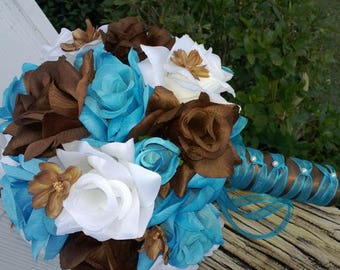Malibu Blue Brown White Rose Wedding Bouquet, Malibu Blue Bouquet, Turquoise Bouquet, Brown Blue Fall Bouquet White Blue Bouquet Rose Bridal