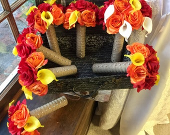 Orange Red Rose & Yellow Calla Lily Wedding Bouquet Set, Fall Bouquet, Orange Red Bouquet, Fall Wedding Bouquet, Orange Bridal Bouquet