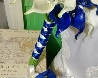 Real Touch Royal Blue White Calla Lily Bridal Bouquet Wedding Bouquet, Royal Blue White Bouquet, Calla Lily Bouquet Blue Bouquet