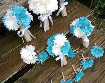 Daisy Bouquet 10 Piece Blue White Wedding Bouquet Set, White Blue Bouquet, Daisy Rustic Bouquet, Rustic wedding Blue Flowers White Daisies