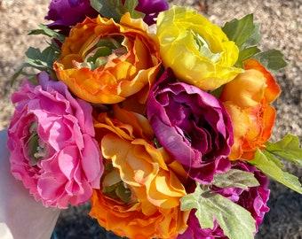 Cottage Rose Colorful Flower Bouquet, DIY Fake Flowers, Orange Wedding Flowers, Rainbow wedding bouquet, DIY Bouquet