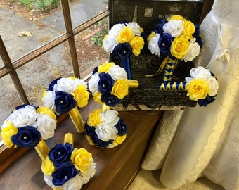 18 Piece Yellow Navy White Rose Wedding Set, Yellow Rose Bouquet, Yellow Navy Bridal Bouquet, Navy Rose Bouquet, Yellow Navy Wedding Bouquet