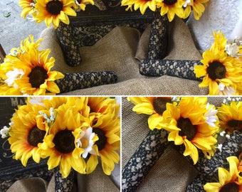 Sunflower Bouquet Wedding 17 Piece Black Lace Flower Set, Sunflower Bridal Bouquet, Sunflower Lace Bouquet, Sunflower Wedding Bouquet Rustic