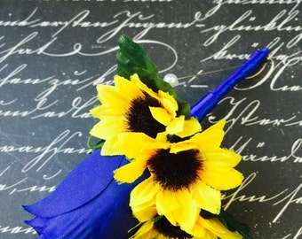 Sunflower Royal Blue Rose Boutonniere, Sunflower boutonniere, Grooms Flower Sunflower wedding, Yellow Boutonniere, Mens Flower