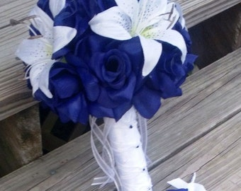 17 Piece Royal Blue White Rose Wedding Bouquet Set Royal Etsy