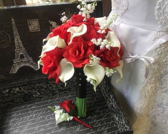 Red Rose & White Calla Lily of the Valley Wedding Bouquet Set, Red White Bouquet, Red Bridal Bouquet, Red Wedding, Red Bride Bouquet