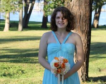 Real Touch Silk Ivory Peach Orange Rose Wedding Bouquet, Ivory Peach Bouquet, Peach Bridal Bouquet Ivory hydrangea, Ivory Bridal Bouquet