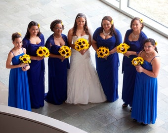 Sunflower Rustic Wedding Flower 17 Piece Set, Yellow Sunflower Bridal Bouquet, Fall Wedding Bouquet, Fake flowers, Sunflower Royal Blue